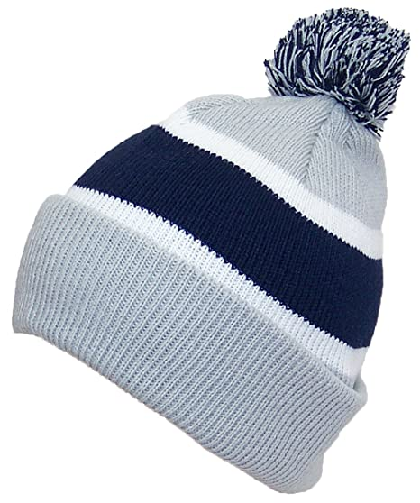 6defede1b99f2 Best Winter Hats Quality Cuffed Hat with Large Pom Pom (One Size)(Fits Large  Heads) - Gray Navy  Amazon.in  Clothing   Accessories