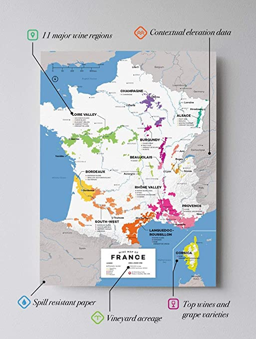 Map Of South Of France Regions.Wine Folly France Wine Map Poster Print 12 X 16