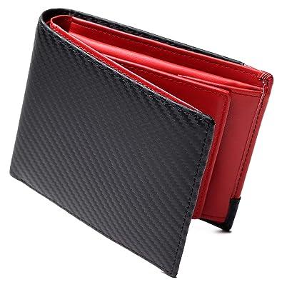 e4bbe6091ed8 カーボンレザー 二つ折り 財布 メンズ 大容量 ボックス型 小銭入れ 17ポケット ICカード