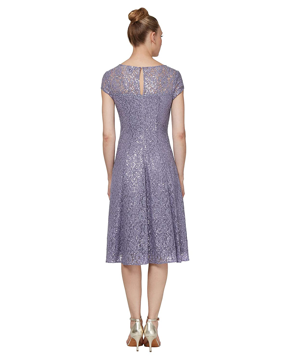 9a0c4cc8a0 Amazon.com  S.L. Fashions Women s Lace and Sequin Fit and Flare Dress   Clothing