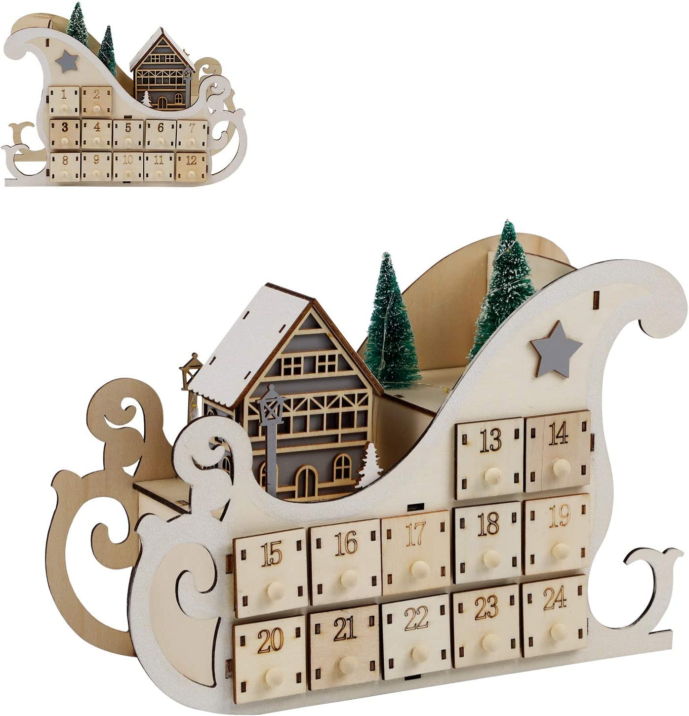 MorTime 24 Day Advent Calendar,Countdown to Christmas Wooden Advent Calendar 24 Storage Drawers, 100% Wood Construction | Cute Holiday Decoration | Measures (Sled)