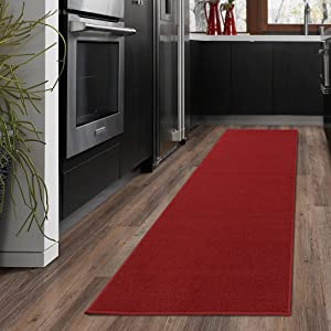 "Ottomanson OTH8400-20X59 Ottohome Collection Solid Design Runner, 20"" x 59"" Red"