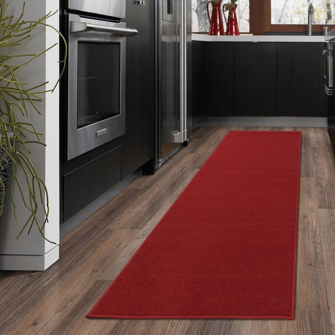Ottomanson Ottohome Collection Solid Design Hallway Wedding Aisle Runner Rug Non-Skid (Non-Slip) Rubber Backing Area Rug, 20'' X 59'', Red