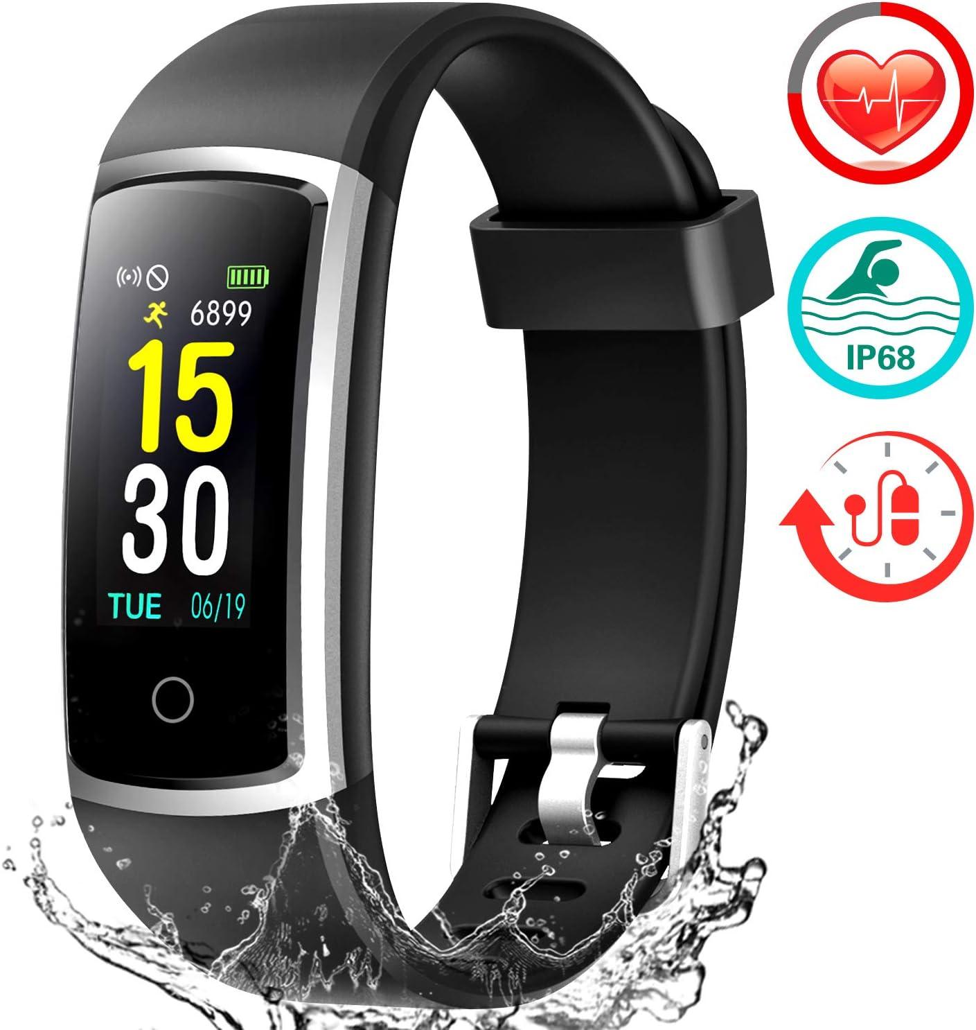 FITFORT Pulsera de Actividad Reloj Inteligente para Hombre y Mujer, IP68 Impermeable Reloj Deportivo con Rtmo Cardíaco, Presión Sanguínea, Sueño Monitor, Contador y Calorías para Android y iOS