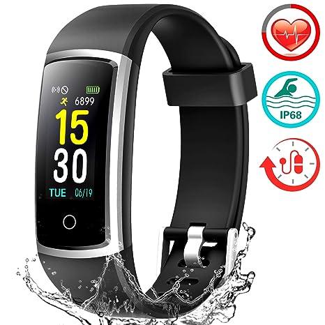 FITFORT Pulsera de Actividad Reloj Inteligente para Hombre y Mujer, IP68 Impermeable Reloj Deportivo con Rtmo Cardíaco, Presión Sanguínea, Sueño ...