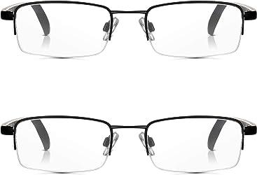 f1a645c5774 Read Optics 2 Pack Half Frame Reading Glasses  Vintage Black Metal  Semi-Rimless Ready