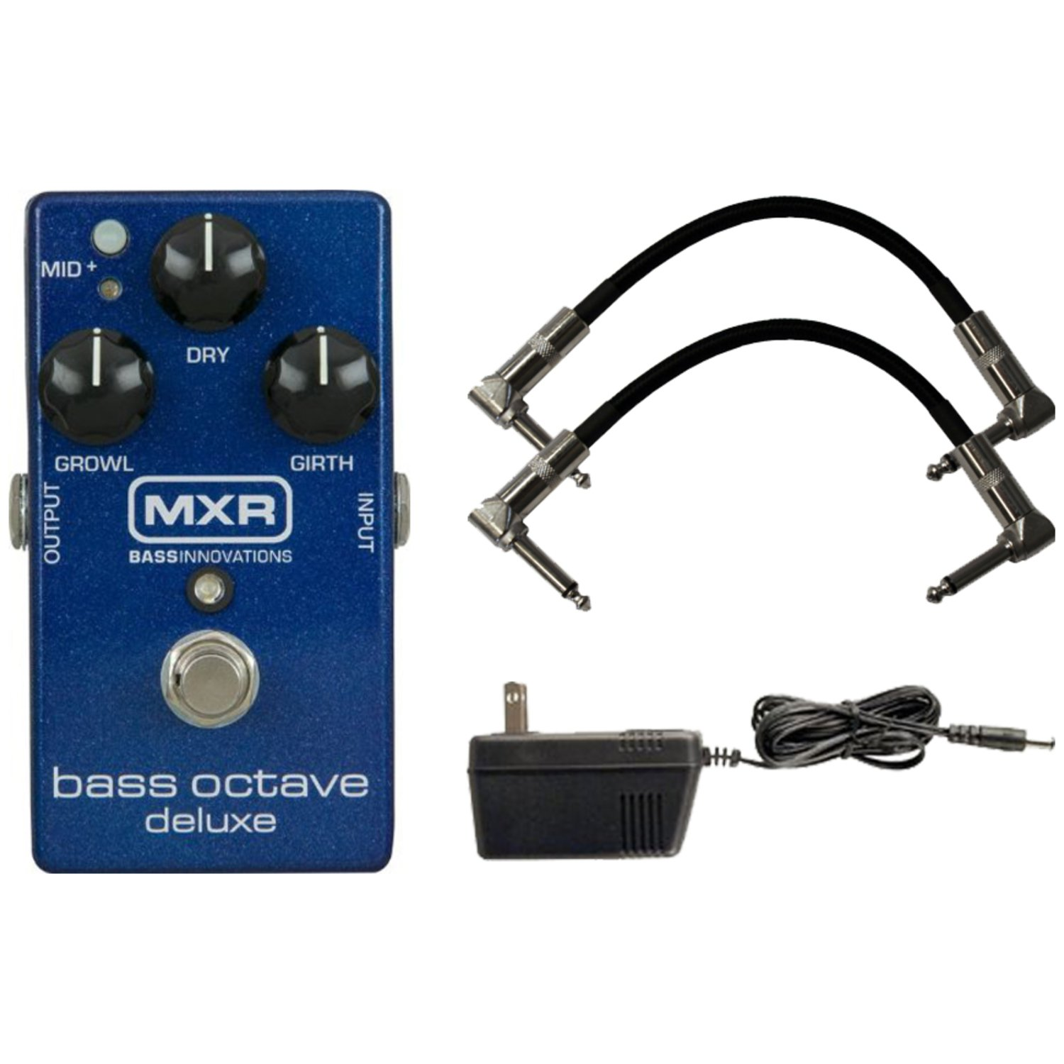 MXR M288 Bass Octave Deluxe Pedal with 9V Power Supply and a Pair of Patch Cables by MXR