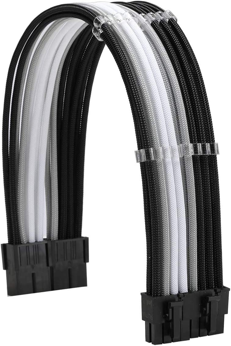 FormulaMod Sleeve Extension Power Supply Cable Kit 18AWG ATX 24P EPS 8-P+PCI-E8-P with Combs for PSU to Motherboard//GPU Fm-NCK3 Black Silver White