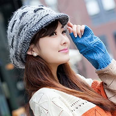 5f97a563132 LOCOMO Women Girl Slouchy Cut Openings Fluffy Knit Beanie Crochet Rib Hat  Brim Cap Winter Warm FFH004BLK Black Gray at Amazon Women s Clothing store