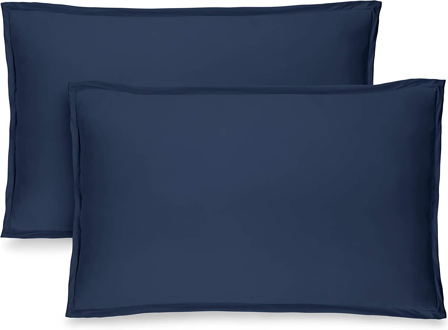 Bare Home Premium 1800 Ultra-Soft Microfiber Pillow Sham - Double Brushed - Hypoallergenic - Wrinkle Resistant (Standard Pillow Sham Set of 2, Dark Blue)