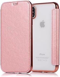 Sycode Flip Custodia per iPhone X,Lusso Nero a Libro Back con Fronte in PU Pelle Portafoglio Flip Cover per iPhone X-Nero