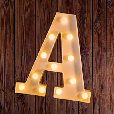 LED Marquee Number Lights Sign Light Up Marquee Letter Lights Sign for Night Light Wedding Birthday Party Battery Powered Christmas Lamp Home Bar Decoration A: Home & Kitchen