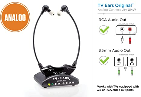 Amazon Com Tv Ears Original Wireless Headsets System Tv Hearing Aid Devices Works Best With Analog Tv S Hearing Assistance Tv Listening Headphones For Seniors And Hard Of Hearing Voice Clarifying Doctor Recommended