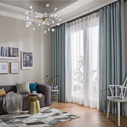 Amazon.com: 2 Panels Curtains Linen Hemp Grommet Blackout Curtains ...