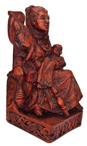 Dryad Design Seated Norse Goddess Frigga Statue Wood Finish
