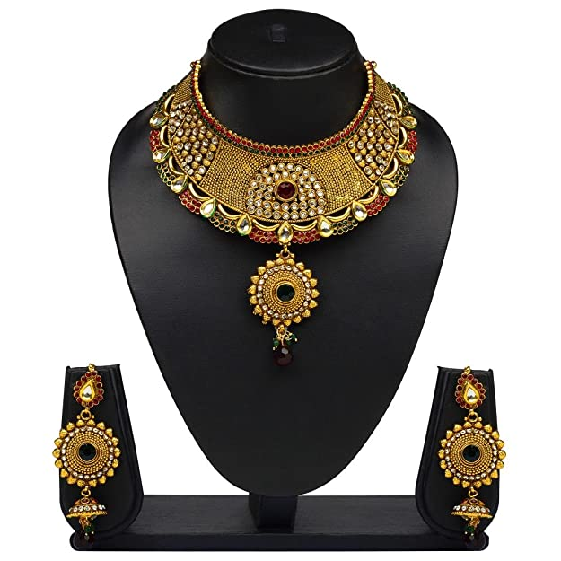 V. K. JewelsGorgeous Gold Plated Choker Necklace with Earrings- NKS1165G [VKNKS1165G] Women's Jewellery Sets at amazon