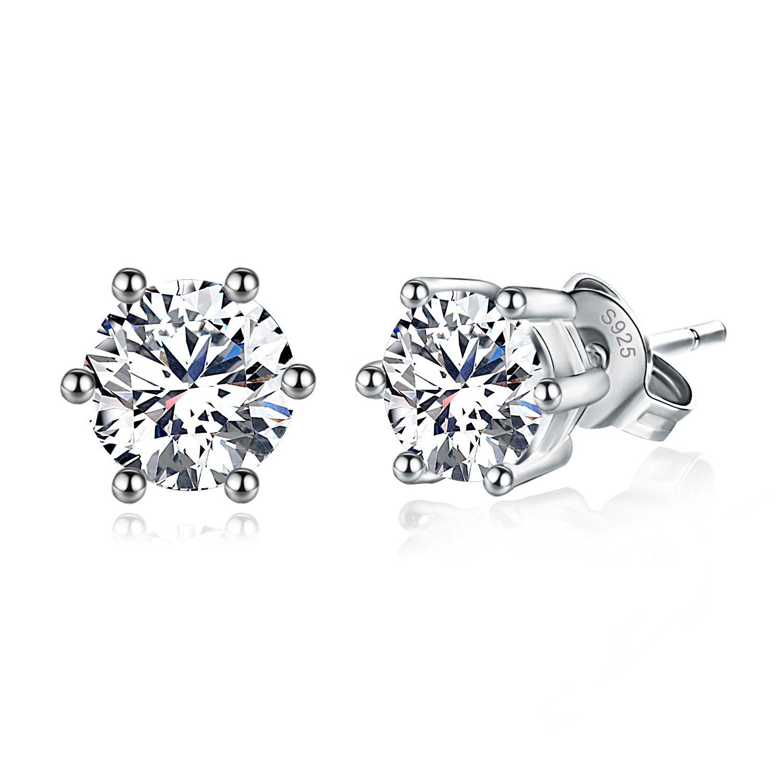 Joyfulshine Women Earrings Studs 925 Sterling Silver Cubic Zirconia Eternal Love Earrings