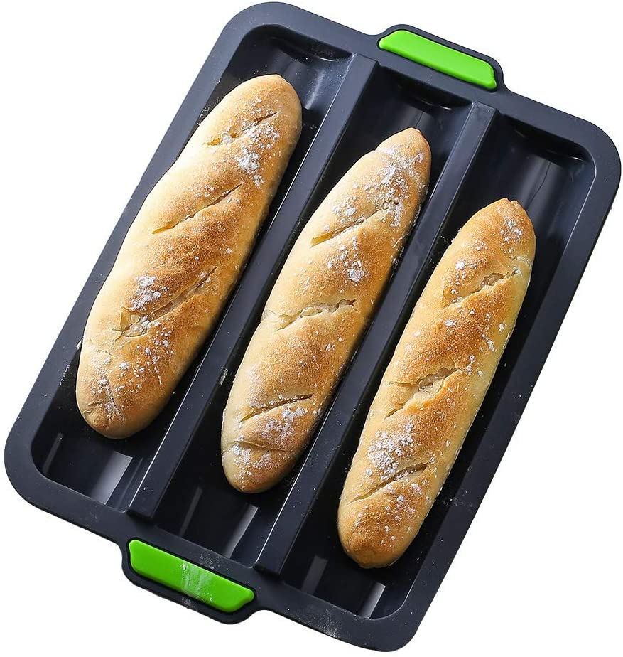 Silicone Baguette Pan Non-stick French Bread Baking Mould, 3 Wave Loaves Loaf Bake Mold Toast Cooking Bakers Roll Pan Sandwich Mold French Baguette Bread Pan (Grey)