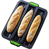 Silicone Baguette Pan Non-stick French Bread Baking Mould, 3 Wave Loaves Loaf Bake Mold Toast Cooking Bakers Roll Pan Sandwic