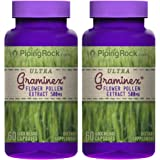 Piping Rock Ultra Graminex Flower Pollen Extract 500 mg 2 Bottles x 60 Quick Release Capsules Dietary Supplement