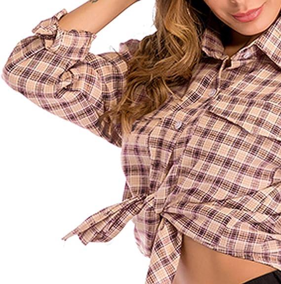 OULII – Camisa de cuadros V múltiple clásico de las mujeres ...