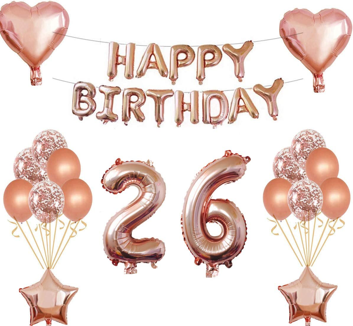 Oumezon 23 compleanno ragazza decorazione oro rosa 23/° compleanno decorazione per ragazze ragazzi Happy Birthday ghirlanda Banner Palloncino Coriandoli palloncini decorazione