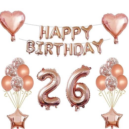 Oumezon 26 cumpleaños niña decoración Rose Gold, 26 cumpleaños decoración para niñas jóvenes Happy Birthday Guirnalda Banner Folienballon Konfetti ...