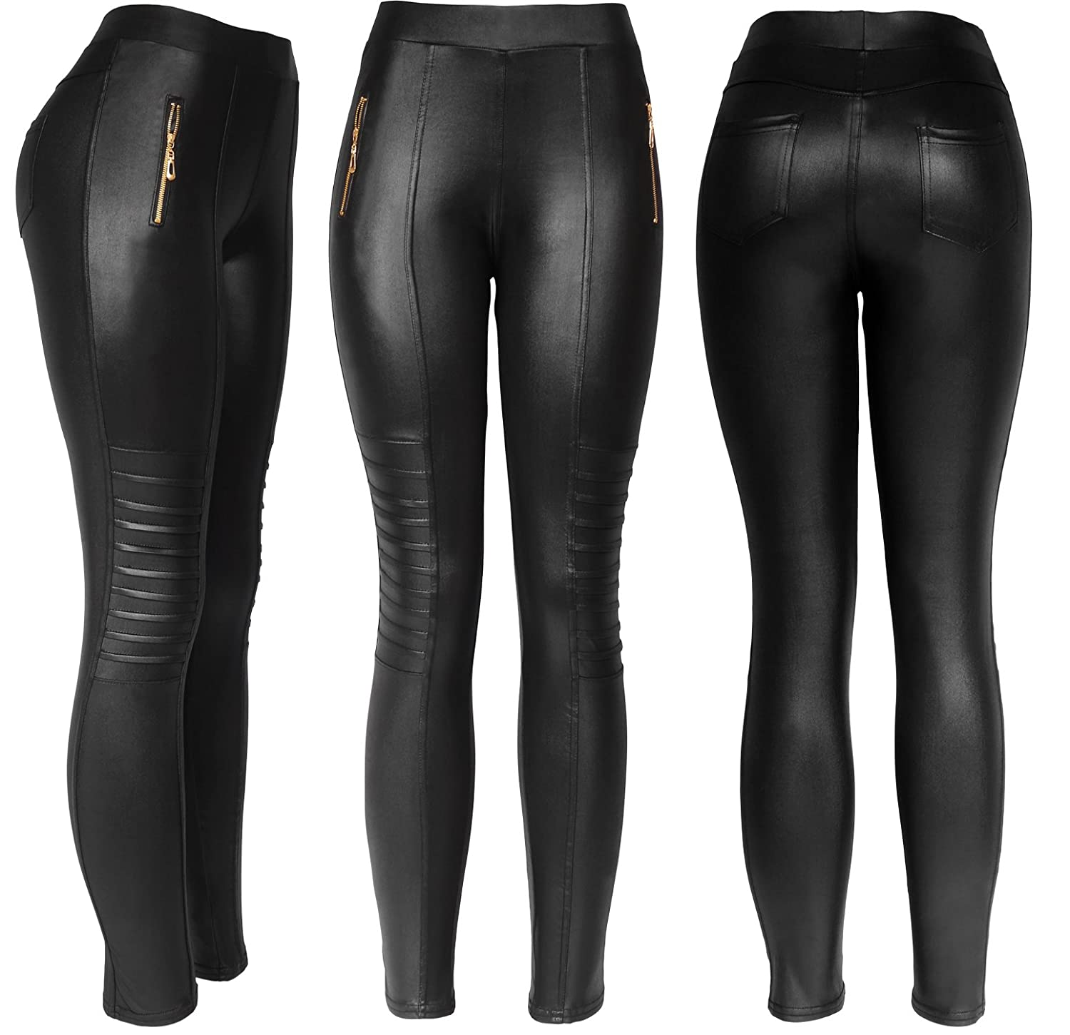 604382a9bc3b9 KMystic Sexy Faux Leather Designs Leggings at Amazon Women's Clothing store: