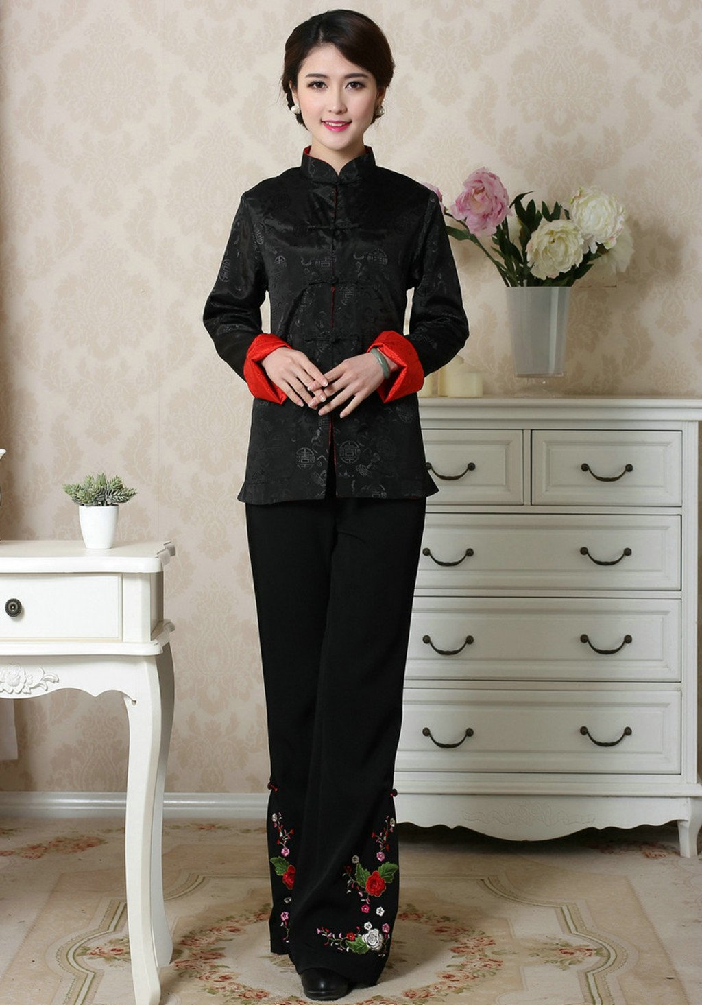 Womens Tang Suits Womens Leisurewear Double-sided Wear Spring and Autumn Womens Clothes Long sleeved Coat Chinese Jackets by Womens Tang Suit (Image #5)