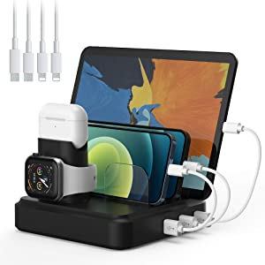 Charging Station, 5-Port Charger Organizer Dock Station with 4 Mixed Cables, USB Charging Station Compatible with iWatch, AirPods, Smart Phones, Tablets, MP3/MP4 and More