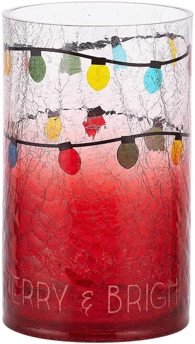 Pavilion - Christmas Light Ombre Red Crackled Glass Hurricane Large Candle Holder, 8 Inch - Merry & Bright Pavilion Gift Company 99015
