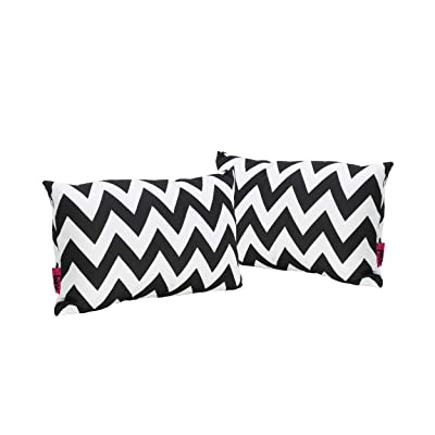 Christopher Knight Home Marisol Jerry Outdoor Black and White Chevron Water Resistant Rectangular, 2-Pcs Set: Home & Kitchen