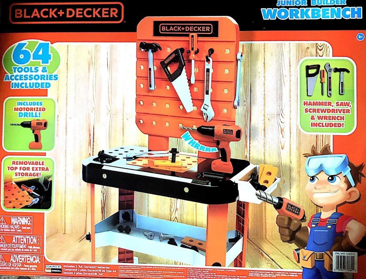 BLACK+DECKER Junior Power Workbench Workshop with Realistic Action Lights & Sounds - 64 Tools & Accessories [Hotsaleonline], 38''