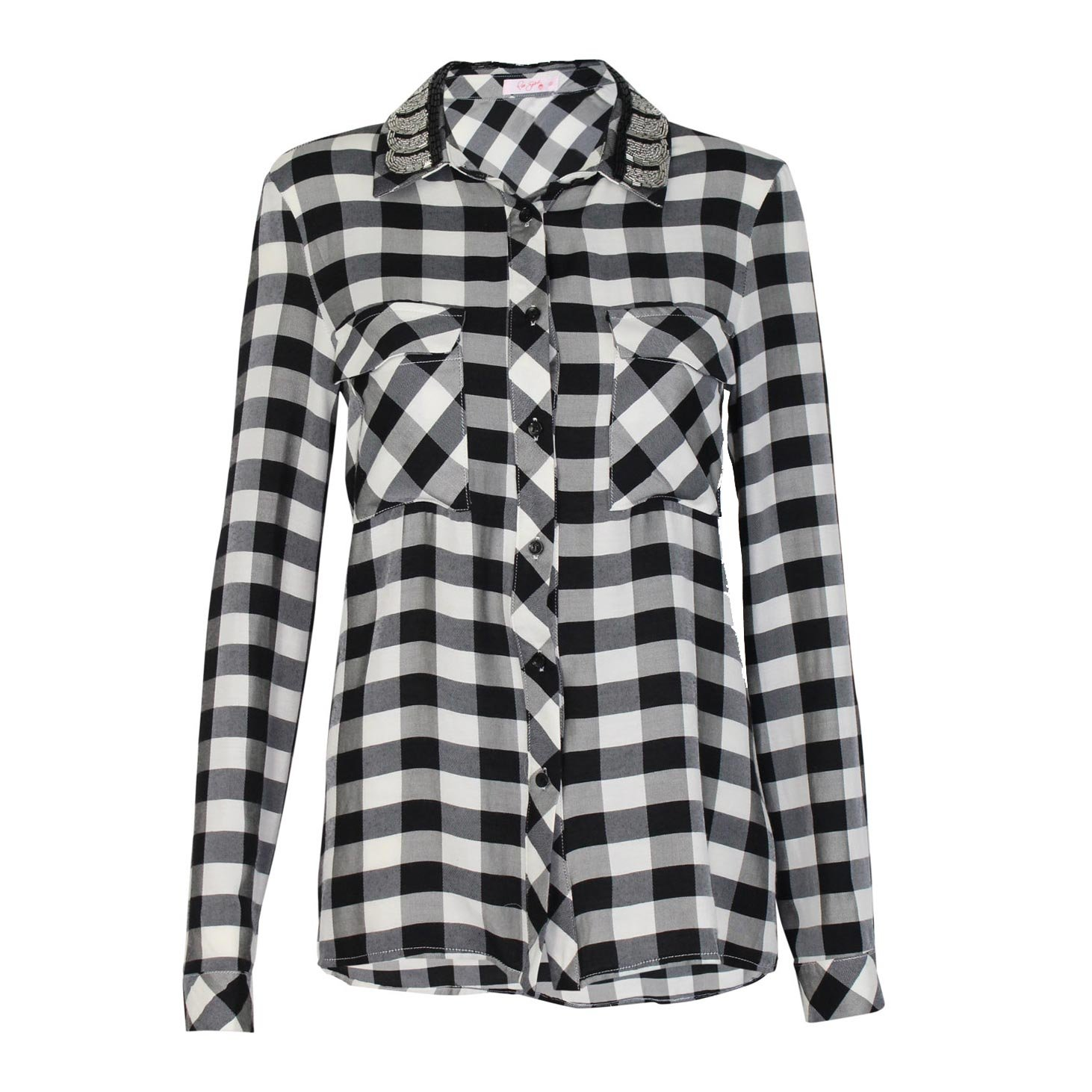 73f74958 Amazon.com: Pink Spider Womens Checkered Button Down Shirt Black/White  Small, Medium: Clothing
