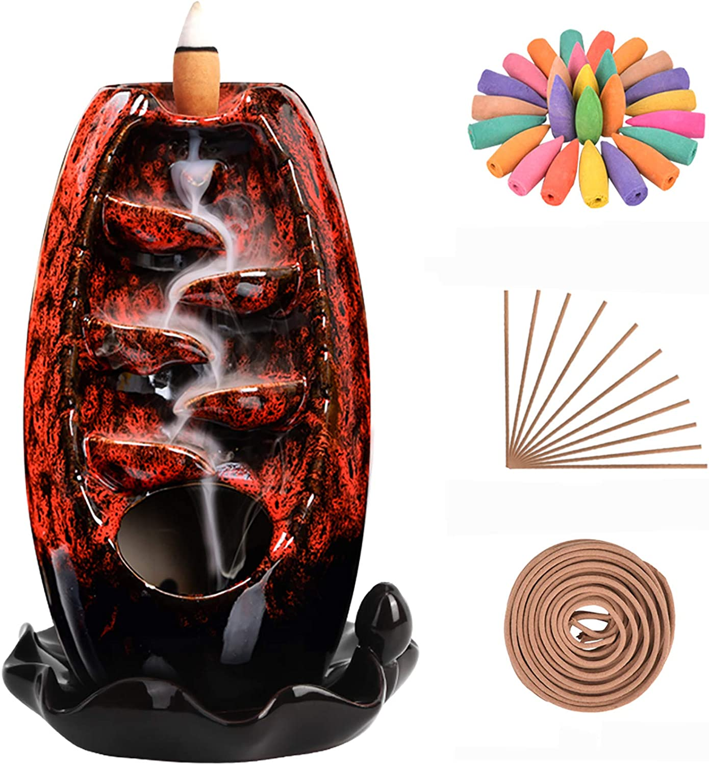 SOLEJAZZ Backflow Incense Burner Waterfall Incense Holder Ceramic with 120 Backflow Incense Cones + 30 Incense Stick for Home Office Yoga Aromatcherapy Ornamen, Red