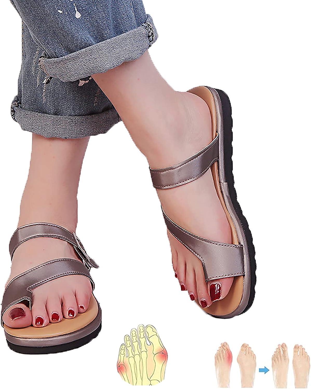 DYHOZZ Sandalias para Mujer Ortopédicas Correctoras de Juanetes, Sandalias Casuales de Verano para la Playa Zapatos de Viaje Sandalias con Chanclas de Tacón Plano para Interiores/Exteriores