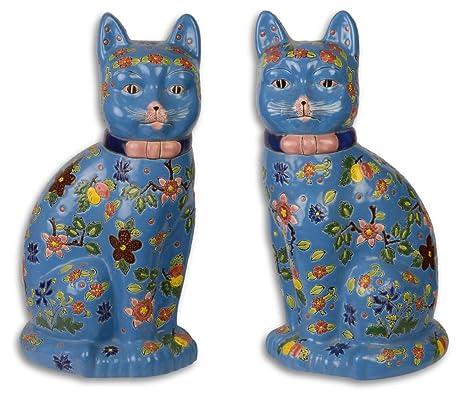 Casa-Padrino Conjunto de Figuras de Gatos de Porcelana Azul/Multicolor 20.2 x 17