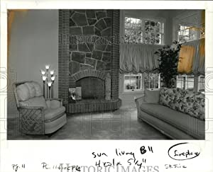 Historic Images - 1987 Press Photo Fireplace-Street of Dreams Home Entertainer II by Blazer Homes