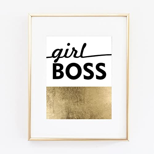 Gold Foil Typography Wall Art Girl Boss Print Inspirational Quote Black And White