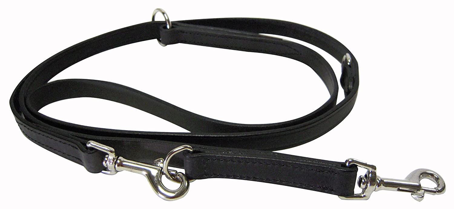 Black Hamilton LM6834 BK 3 4Inch x Multilength Leather Euro Lead for Dogs  Black