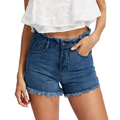 Damenmode Damenmode Damen Jeans Shorts High Waist Hot Pants Mit Spitze Hoher Bund Stretch Hose Kurz