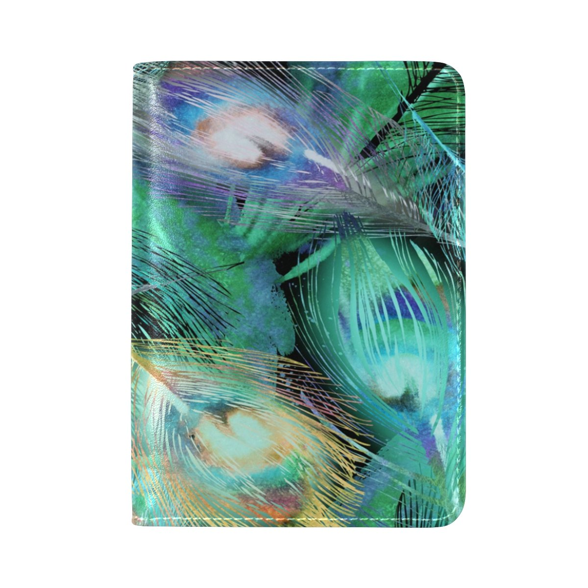 ALAZA Abstract Feather Peacock PU Leather Passport Holder Cover Case Travel One Pocket