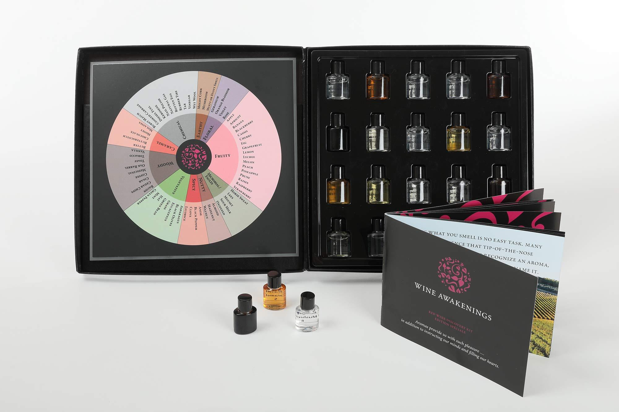 20 Aroma Red Wine Aroma Kit + Wine Aroma Wheel. The booklet covers the spectrum of wines found worldwide, including the aroma profile ''whys''. Best & Most Affordable + 10 year guarantee. by Wine Awakenings