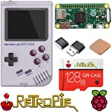 TAPDRA Raspberry Pi Zero Handheld Portable Game Console, RETROFLAG GPi Case with Safe Shutdown, 128GB Fast Card with 14000+ G