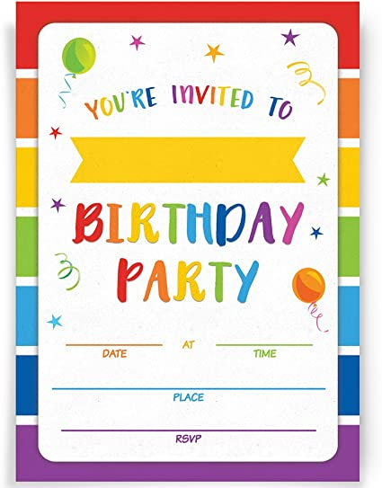 Amazon Com Birthday Party Invitations 20 Invitations And Envelopes Rainbow Party Invites Ideas And Supplies Toys Games