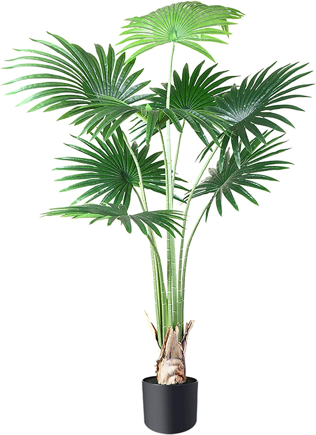 CROSOFMI Artificial Desert Fan Palm Tree 4.6 Feet Fake California Palm Plant,Perfect Faux Fan Palm Plants in Pot for Indoor Outdoor House Home Office Garden Modern Decoration Housewarming Gift