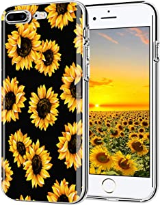 iPhone 7 Plus case, iPhone 8 Plus case, AIKIN Simply Designed Flower Pattern Case Soft TPU Flexible Case Shockproof Protective Cute Case for iPhone 7 Plus, iPhone 8 Plus (Sunflower+ Black)