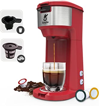 KINGTOO Single Serve K Cup Coffee Maker for K-Cup Pod & Ground Coffee, Thermal Drip Instant Mini Coffee Machine with Self Cleaning Function