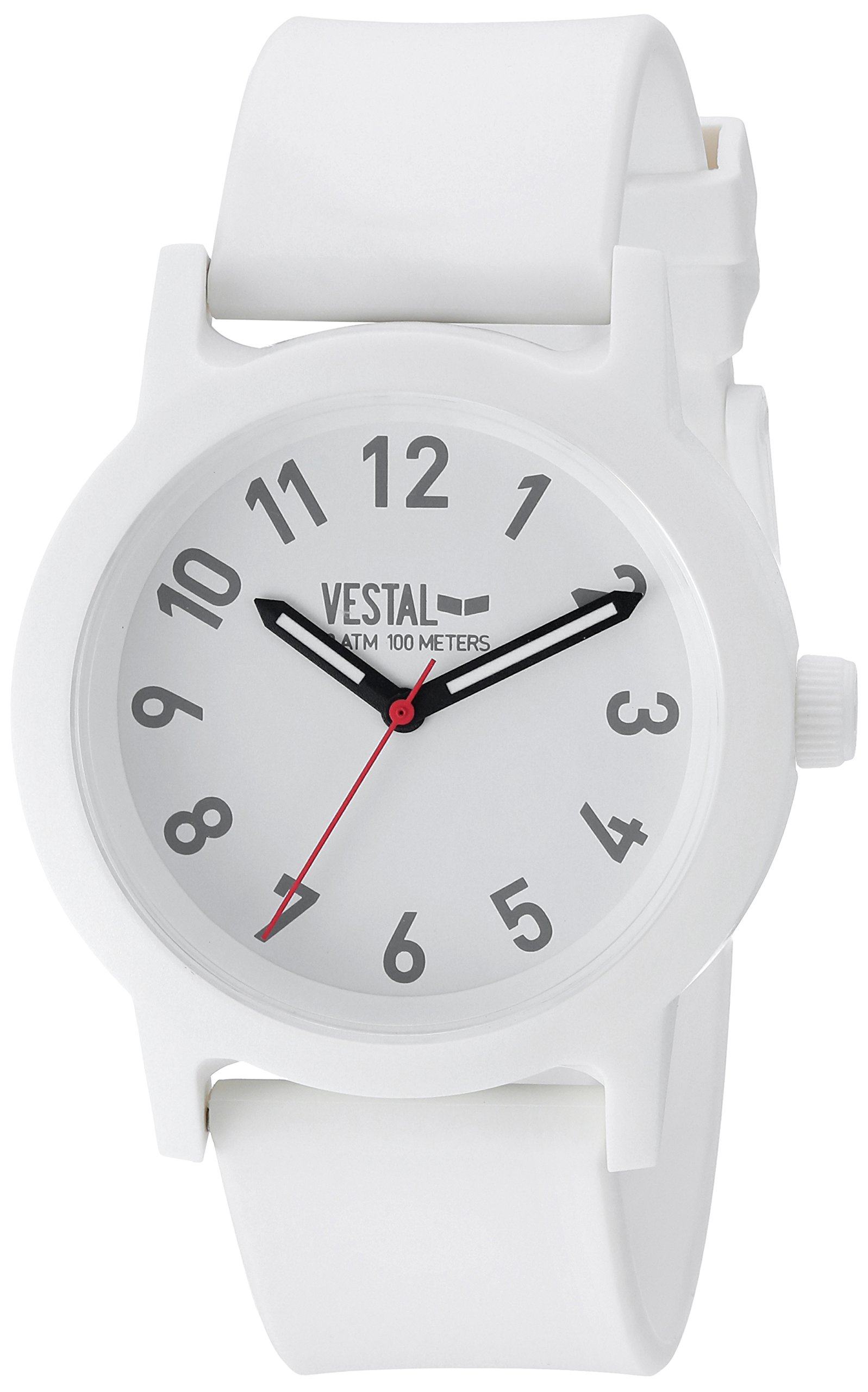 Vestal Alpha Bravo Plastic Quartz Watch with Strap, White, 19 (Model: ALP3P05) by VESTAL