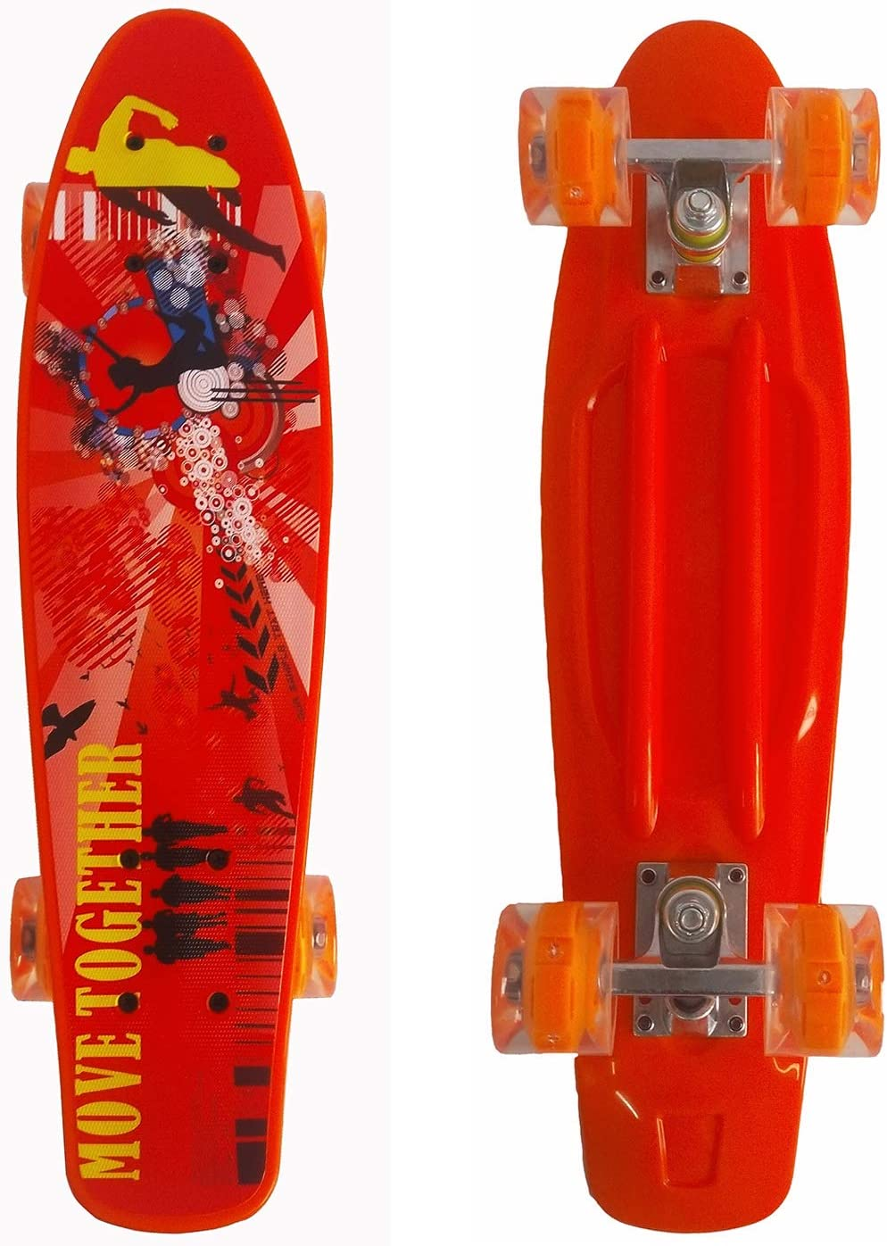 Runyi 22//24//27 Inches Mini Cruiser Skateboard Complete for Beginners Professional,Plastic Cruiser with Colorful LED Light PU Wheels,Gift for Boys Girls Kids Youths Teens Adult